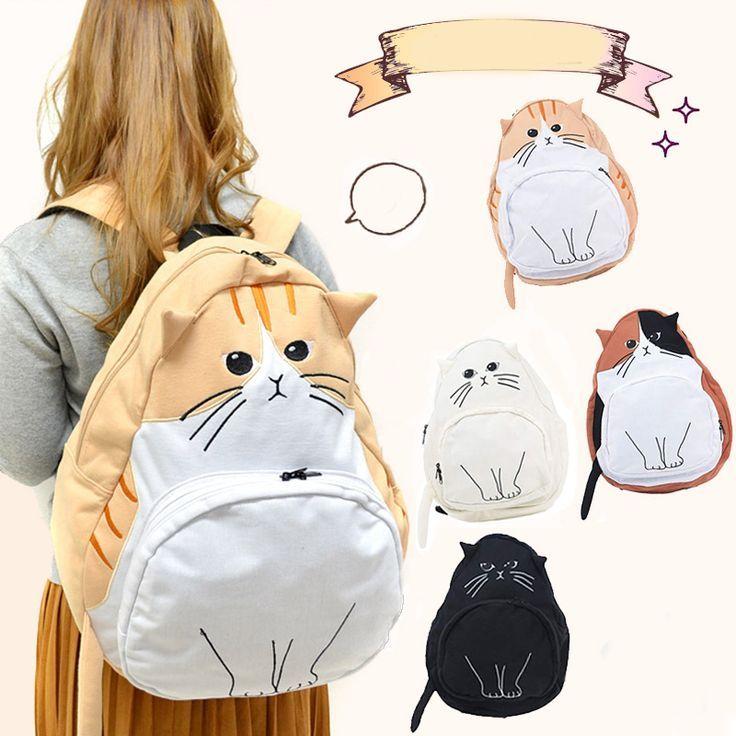 Cute kawaii cat canvas backpack