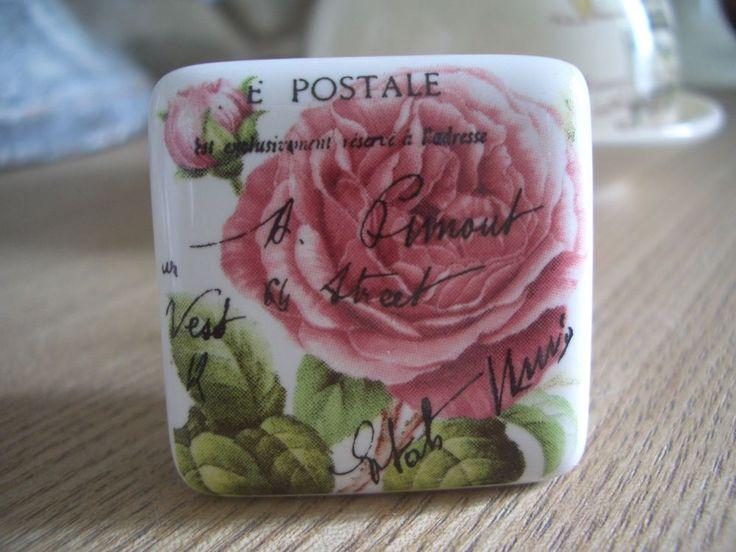 bouton de porte meuble tiroir céramique déco rose ancienne carte postale 3.5cm