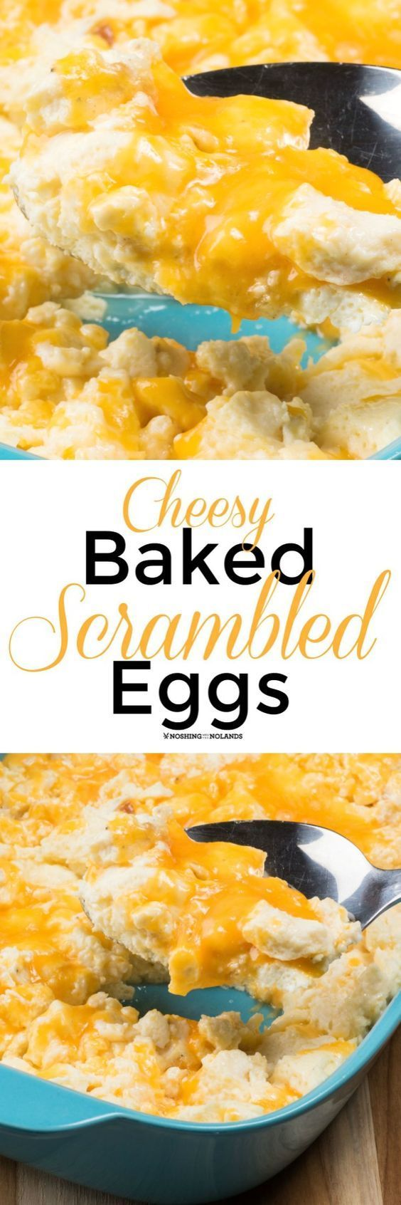 Cheesy Baked Scrambled Eggs by Noshing With The Nolands isn't just for breakfast but is great for dinner as well. Perfect for feeding a crowd!