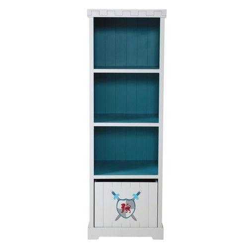 Bibliothèque enfant grise et bleue