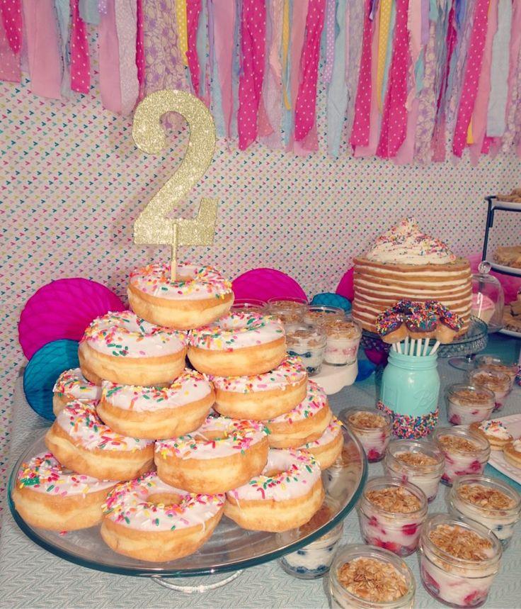 Pancakes and Pajamas birthday party decoration ideas. Food table. Pancake cake. …