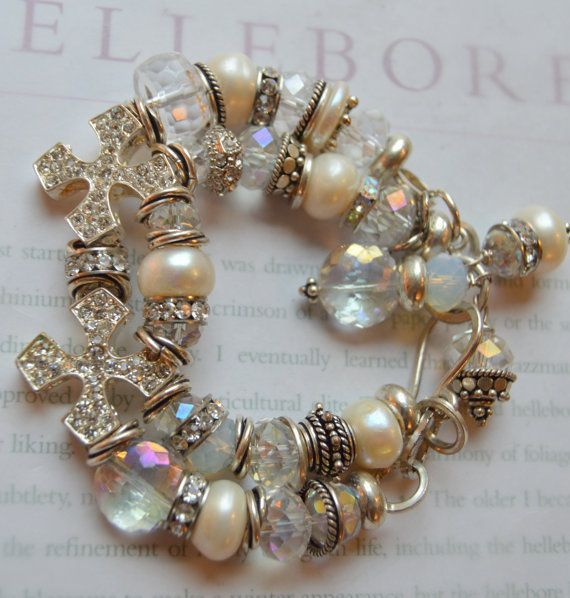Crystal AB and White Crystal Pearl Cuff Bracelet made with Swarovski Elements