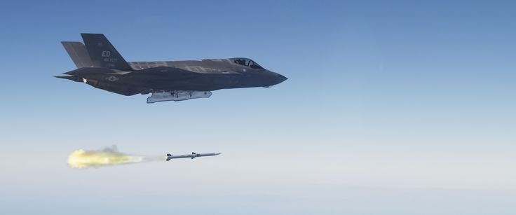 https://flic.kr/p/h9tf5Z | First F-35 Live Fire Weapon Test with a AIM-120 AMRAAM | The F-35 Lightning II executed its first live-fire launch of a guided air-to-air missile over a military test range off the California coast on Oct. 30, 2013. The AIM-120 advanced medium range air-to-air missile (AMRAAM) was fired from an F-35A conventional take-off and landing variant test aircraft. Test data and observers confirmed the F-35 identified and targeted an aerial drone target with its mission…