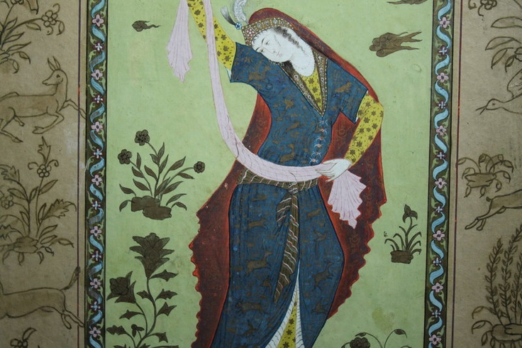 Antique Persian Miniature Painting, Safavid Dynasty? Great example of veil, headpiece... need to find more info.