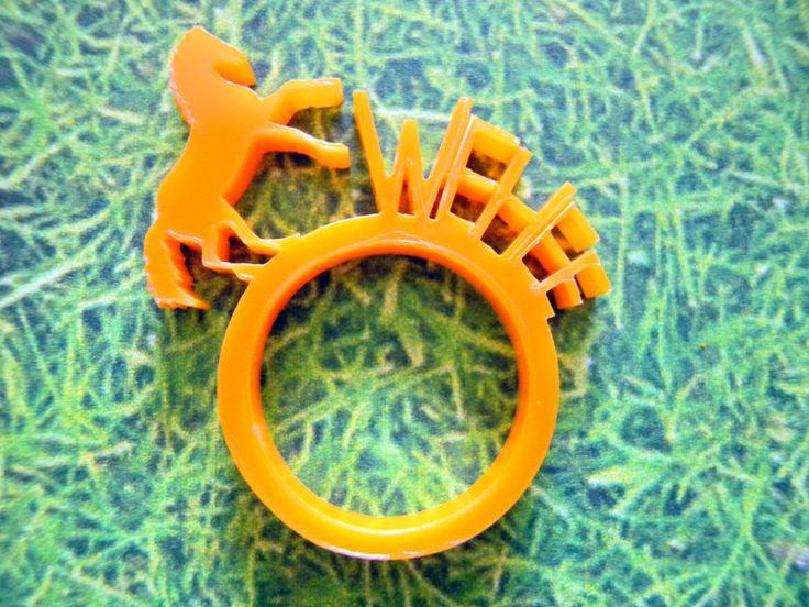 Laser cut acrylic Horse ring Farm animals Animal ring Orange Ring Design ring Laser cut ring Wehee ring Shape ring Funny ring Fun ring