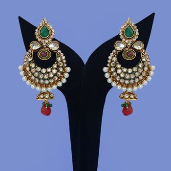 Red and Green Stone Studded Earrings Online Shopping: JJR8787