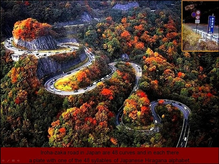 Iroha-zaka road in Japan. A road of 48 curves, each bearing a plate with one of the 48 syllables of the Japanese Hiragana alphabet.