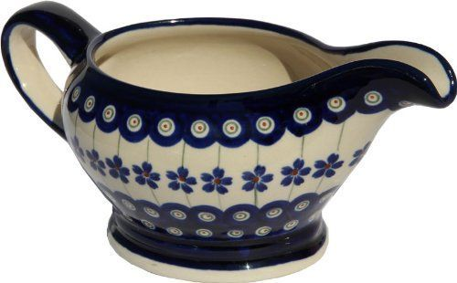 Polish Pottery Gravy Boat 16 Oz From Zaklady Ceramiczne Boleslawiec 1258166a Floral Peacock Traditional Pattern Capacity 16 Oz *** Click the VISIT button to view the pottery details