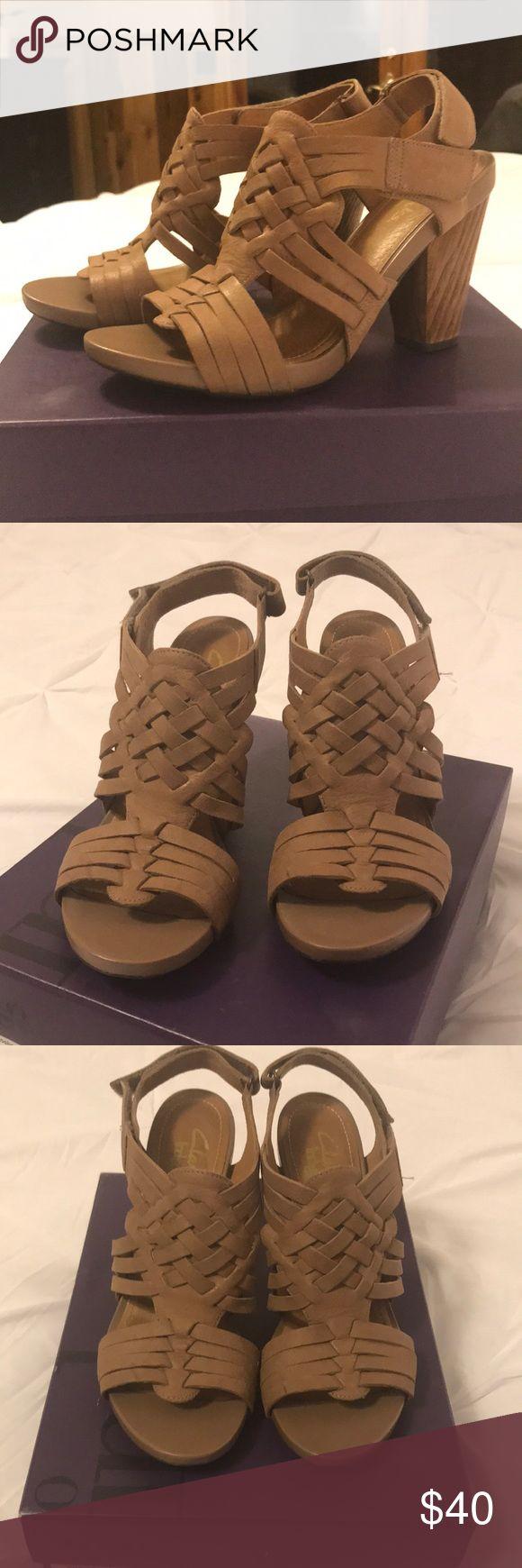 """Clark's 'Rosa' Clark's (Indigo) 'Rosa', leather, 4""""heel, wooden heel, rubber sole, barely worn, in original box Clarks Shoes Sandals"""