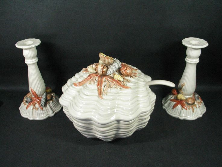 New Soup Tureen for Dining Room - colors and style are perfect!  1975 Vintage Fitz & Floyd COQUILLE Soup Tureen, Ladle, 2 Candlesticks- Nice Cond