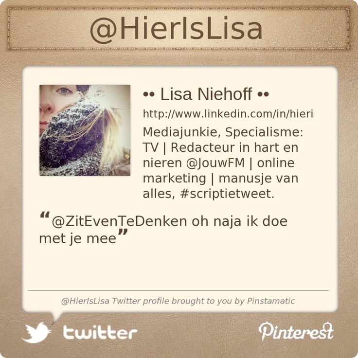 @HierIsLisa's Twitter profile courtesy of @Pinstamatic (http://pinstamatic.com)