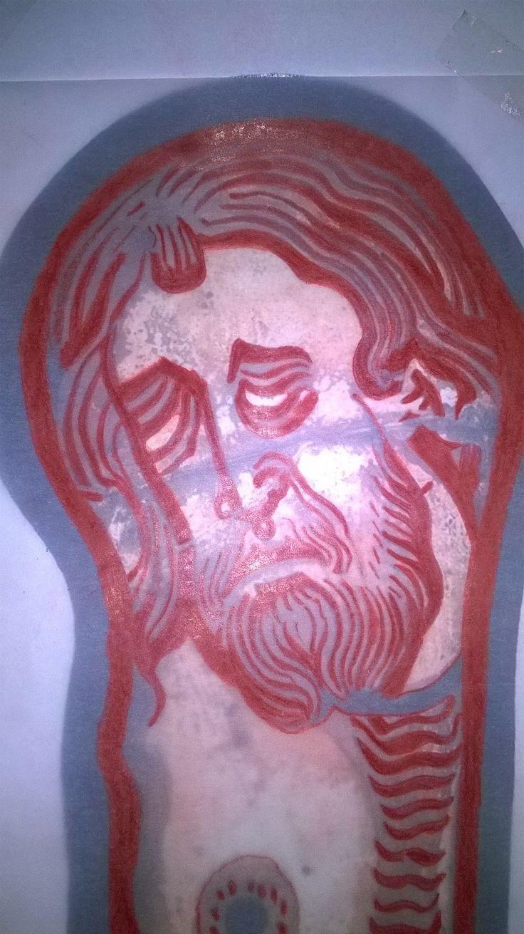 Krisztus a kereszten - üvegfestmény a 13. századból. Rekonstrukció: Németh Zsuzsa