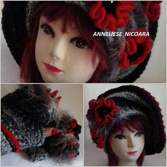 Unique Freeform Set Hat and Mittens/Ladie's  crocheted HAT