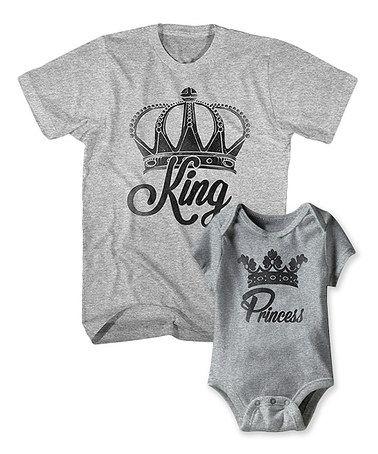 Love this Gray Heather 'King' Tee & 'Princess' Bodysuit - Infant & Men on #zulily! #zulilyfinds
