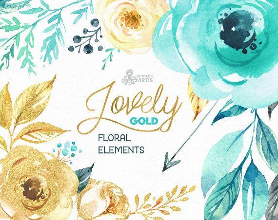 Schöne Blumen Gold. Florale Elemente zu trennen. von OctopusArtis