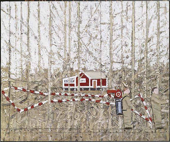 Leonard Rickhard <em>Figurer og handlinger i krattskogen</em><br />olje på papp og tre, 33x40 cm