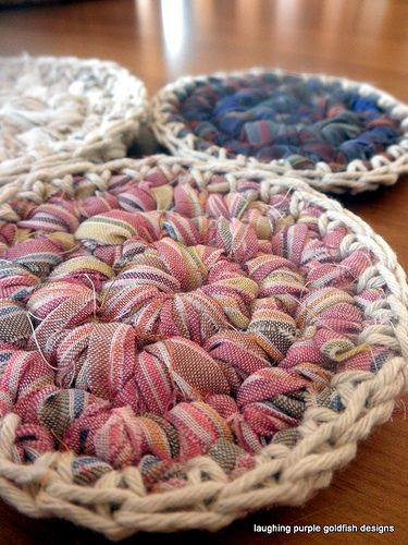 rag coasters - cute and good use for old fabric ༺✿ƬⱤღ…