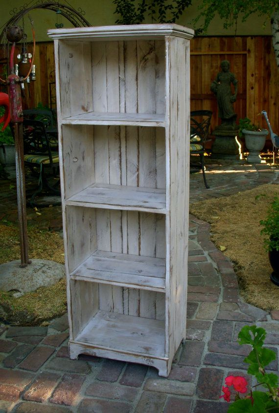 Wooden Shelf - Rustic - Shabby Furniture - Storage Shelves - Solid Wood Linen Cabinet - Bookshelf