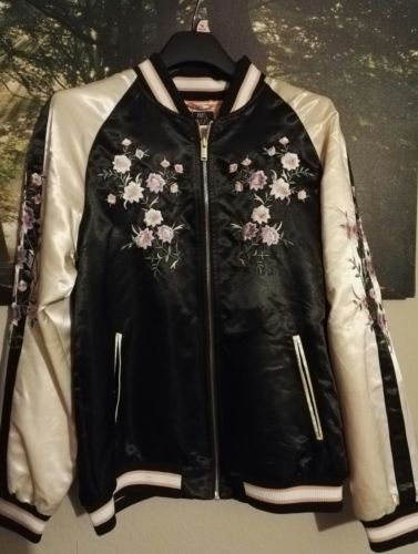 Ladies-Black-amp-Pink-Embroidered-Bomber-Jacket-Size-16-BNWT