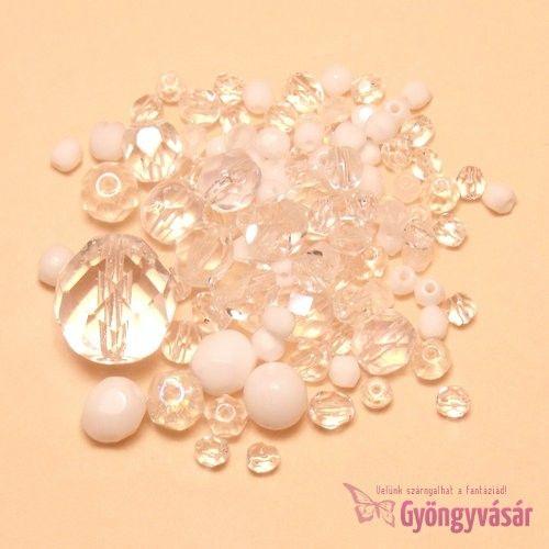 Fehér-átlátszó vegyes cseh csiszolt gyöngy (10 g) • Gyöngyvásár.hu