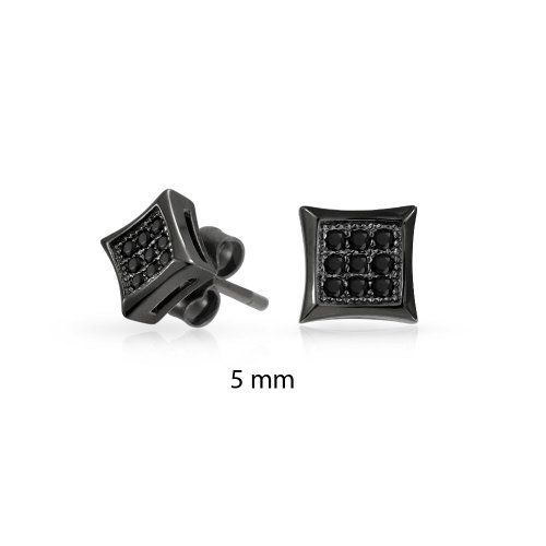 Bling Jewelry Black Simulated Onyx CZ Kite Micro Pave Mens Stud Earrings 5mm 925…