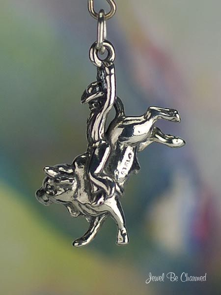 Bull Rider Charm Sterling Silver Rodeo Cowboy by jewelbecharmed, $27.95