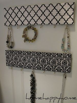 jewelry organizer from scrap fabric and wood... get out the glue guns