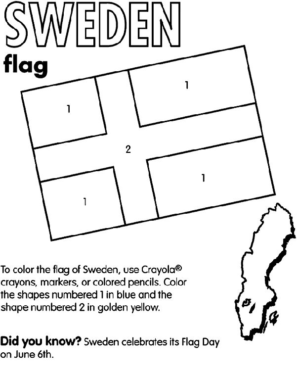 Use Crayola® crayons, colored pencils, or markers to color the flag of Sweden. Color the shapes numbered 1 blue and the shape numbered 2 goldenrod.   Did you know?  Sweden is located in northern Europe between Finland and Norway. Sweden has not participated in any war in nearly two centuries. Some of their natural resources include iron ore, copper, gold, silver, and timber. The country measures sligtly larger than the state of California.