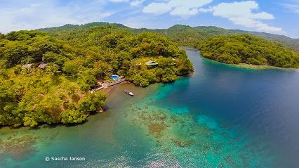 Do you know how beautiful Lembeh Resort's  house reef is? Our photo pro Sascha Janson took this aerial shot with his Go Pro Hero 3 attached to the Phantom 2 Quadcopter.  #Lembeh