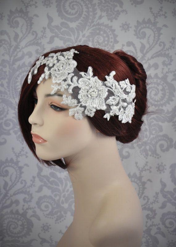 Bridal Head Piece Off White Lace Headband Off by januaryrosebridal,