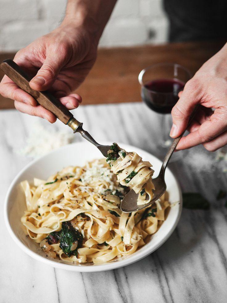 Fettuccine with Caramelized Onions + Swiss Chard — a Better Happier St. Sebastian