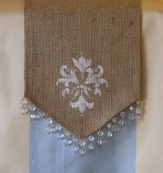Burlap Table Runner with Hand Stenciled by CasualEleganceHome, $28.00