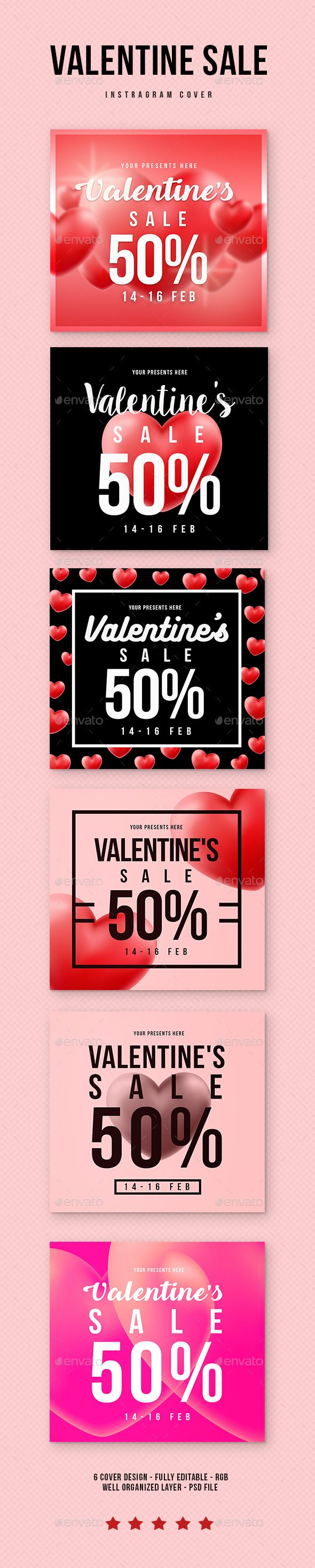 Valentine Sale Instragram Banners Template PSD