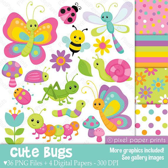 Cute bugs Clipart and Digital Paper Set por pixelpaperprints