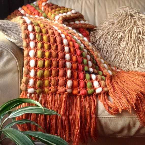 Chunky Knit Throw Blanket, Chunky Poncho, Fall Wool Blanket, Knit Blanket…