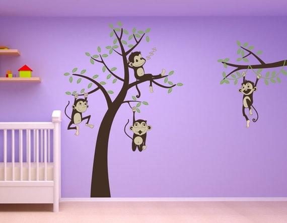 Monkeys!!! Baby room nursery 3 Monkeys  Swinging from a by wallvinyldesigns, $125.00
