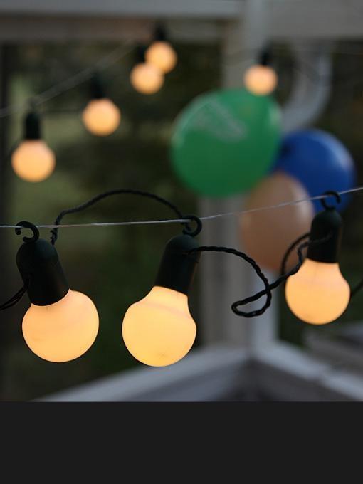 Party lyskæde LED - Balls with hooks - hvid