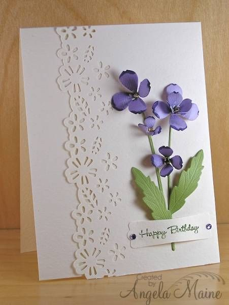 WT416 Happy 8th Anniversary! by Arizona Maine - Cards and Paper Crafts at Splitcoaststampers. MB norland flower & MS border punch.