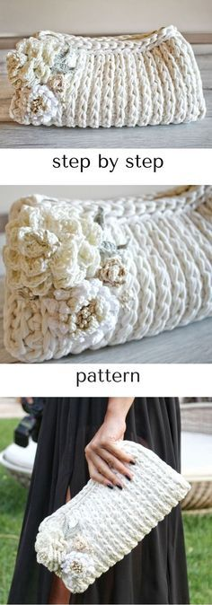 step-by-step crochet bag pattern perfect for a bride! Bridal zip clutch with lining and flowers. Click to view!