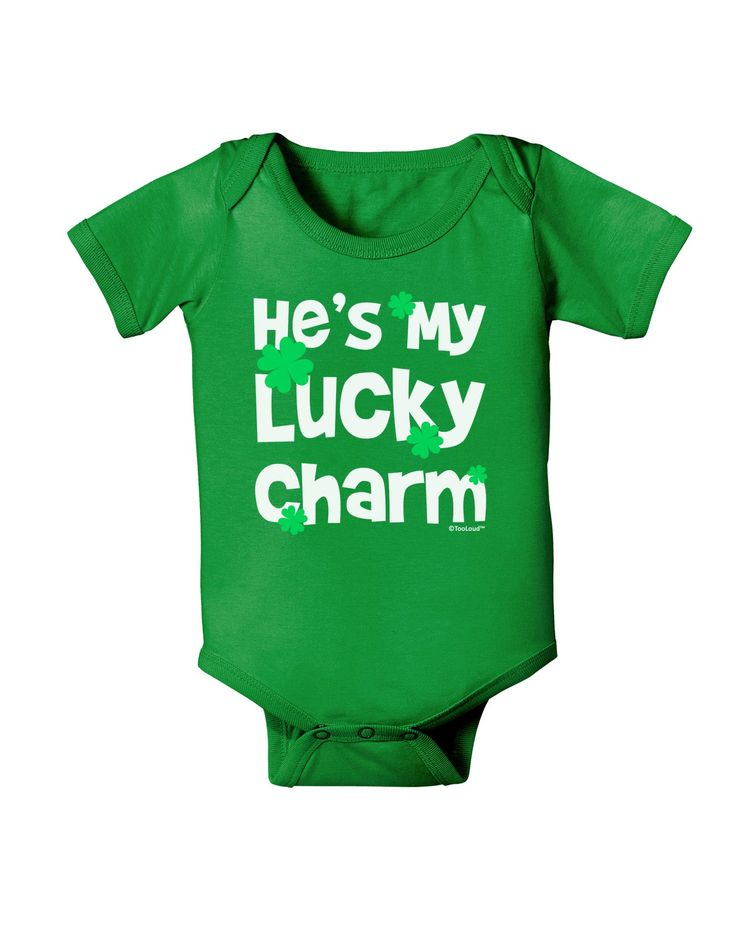 He's My Lucky Charm - Matching Couples Design Baby Bodysuit Dark by TooLoud