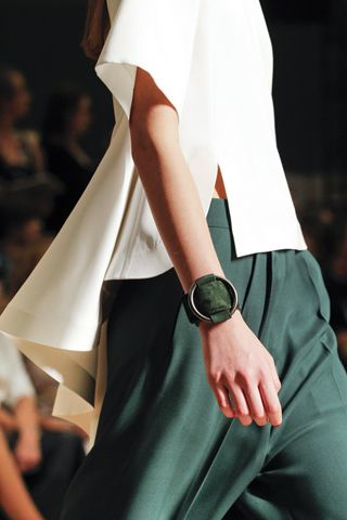 Love the green loungy pants. Detail Spring 2012 Celine | @andwhatelse