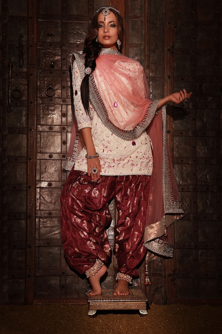Jamawar Patiala Salwar in Harem style with Chantilly Lace Kurta embroidered in stone & beadwork with Tulle net duputta embroidered with Rajasthani gota lace