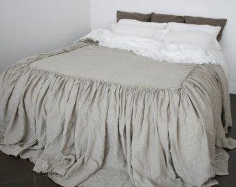 Linen Bed skirt dust ruffle stonewashed made by by mooshop