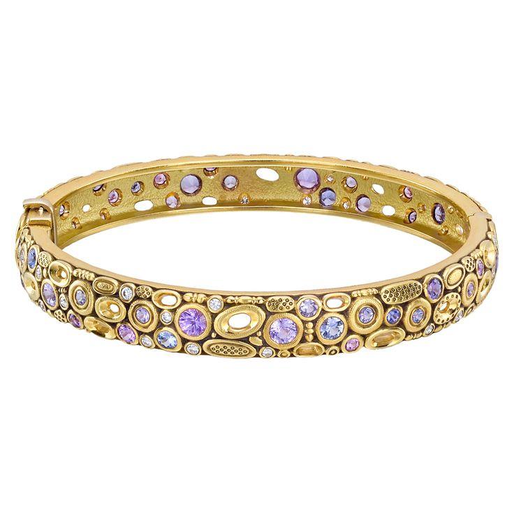 Alex Sepkus 18k Gold, Multicolored Sapphire & Diamond Bangle