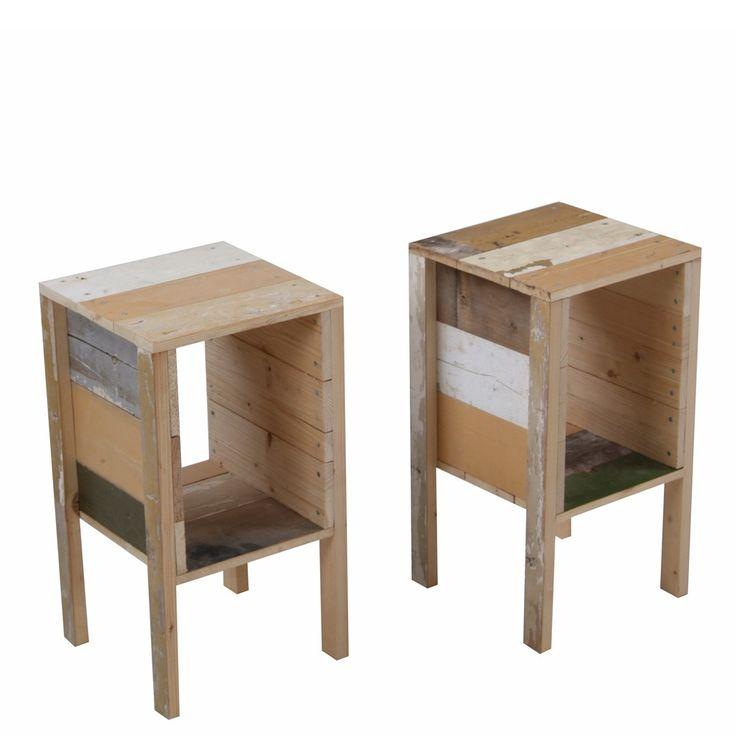 Bedside table in scrapwood piet hein eek furniture for Funky bedside tables