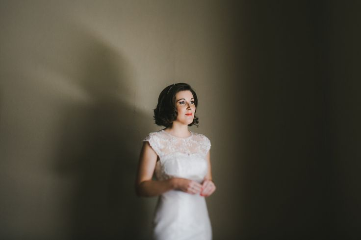 The lovely Claire wearing http://www.elvidesign.com.au/ wedding dress right before walking down the isle. || Melissa Mills Photography