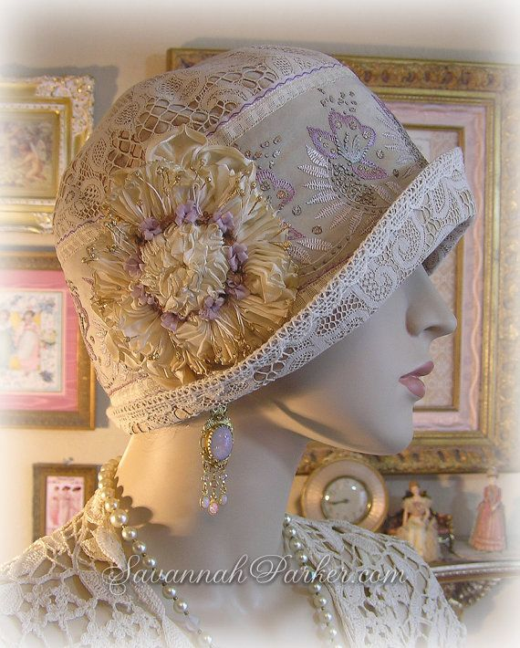 Antique Style 1920s Gatsby Flapper Downton Abbey Cloche Hat by savannahparker.com Antique lace, antique embroidered silk, ribbonwork flowers
