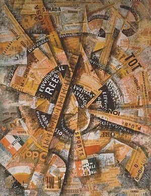 Carlo Carrà, Free-Word Painting, 1914, Papier en drukwerk op stof, op hout, 38,7 x 30,5 cm, privécollectie