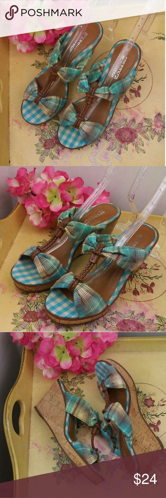 Sperry Top-Sider Shoreham Womens Turquoise Fabric Preowned in good condition Sperry Top-Sider Shoreham Womens Turquoise Fabric Open Toe Wedge Sandals sz 6.5 Sperry Top-Sider Shoes Wedges