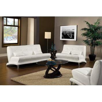 Furniture Design Living Room Sofas And Sets Leather Sofa 2 Pc White Modern Style Leatherette Artem With Pillows Chrome